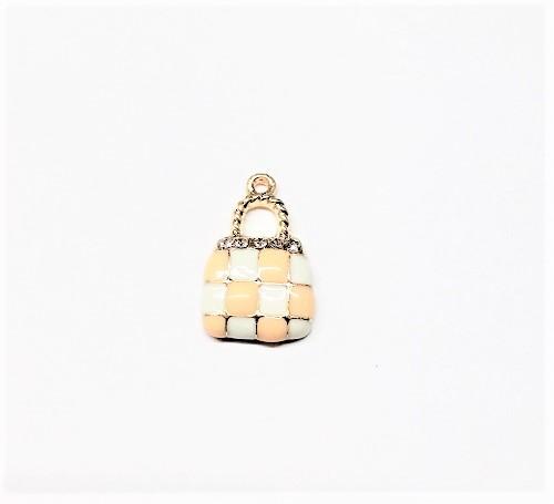 Pendentif sac à main en métal, époxy et cristal 21 x 13mm