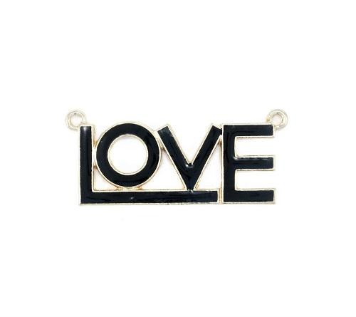 """Pendentif """"love"""" en métal avec époxy 49 x 21mm"""
