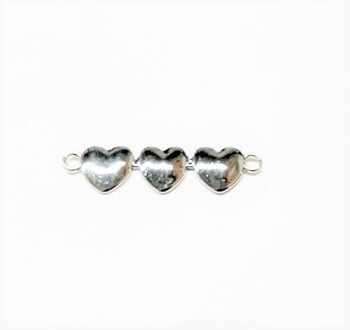 Connecteur triple coeur en métal 43 x 12mm