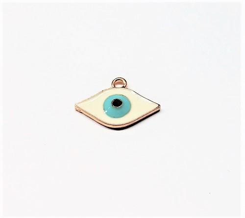 Pendentif oeil en métal avec époxy 23 x 16mm
