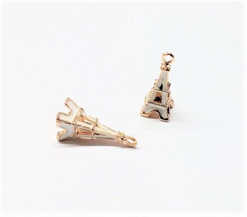Pendentif tour Eiffel en métal et époxy 24 x 9mm