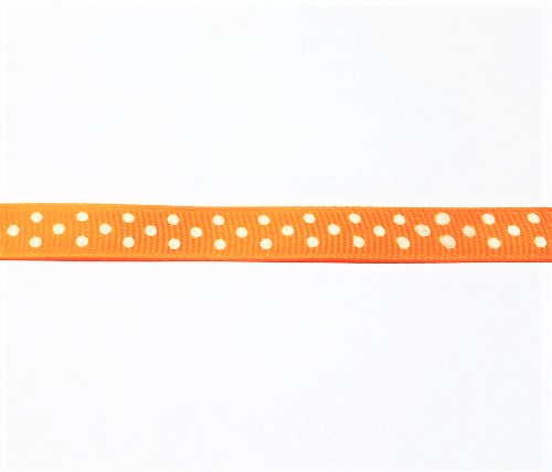 Ruban satiné simple face orange à pois 10mm