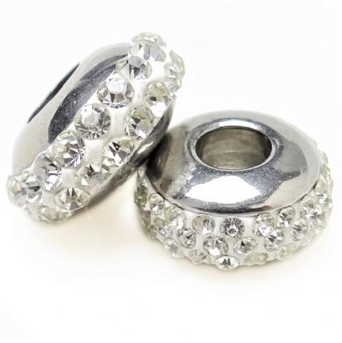 Bille design pandora avec cristal en acier inoxydable