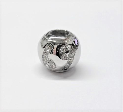 Bille en acier inoxydable avec signe astrologique CANCER en pierre du rhin