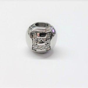 Bille en acier inoxydable avec signe astrologique POISSON en pierre du rhin