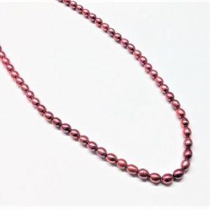 Perle véritable grain de riz teint rouge 4-4.5mm