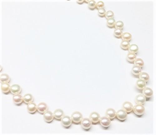 """Perle véritable bouton """"tit-tat"""" naturel 6.5-7.5mm"""
