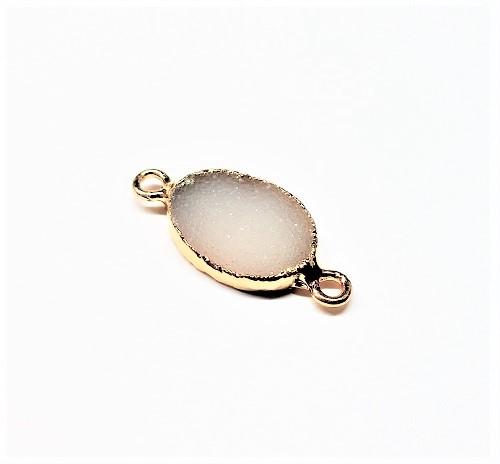 Connecteur oval druzy cristal naturel électrolytique or 11 x 12mm
