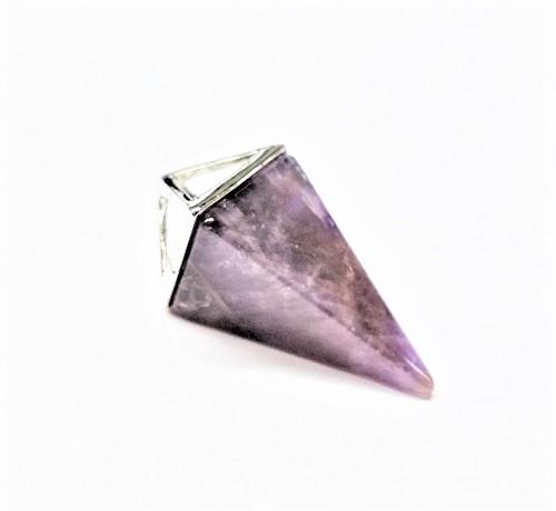 Pendentif triangle en améthyste mauve et argent 15 x 35mm