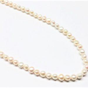 "Perle véritable bouton ""side-drill"" naturel 5-5.5mm"