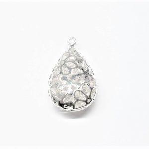 Pendentif goutte motif de fleur avec perle de verre à l'intérieur 17.5 x 30 x 9mm