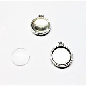 Ensemple pendentif plateau 12mm, 18 x 15 x 3mm avec cabochon en verre