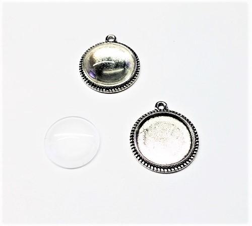 Ensemble pendentif plateau 16 x 20 x 2mm avec cabochon en verre