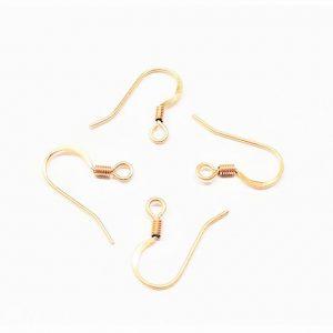 Crochet de boucle d'oreille avec ressort en acier inoxydable or