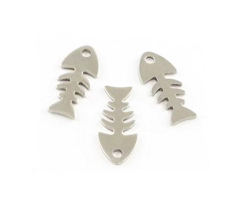 Acier inoxydable 304 Pendentif/Breloque squelette de poisson
