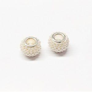 Bille de style pandora avec perles blanches