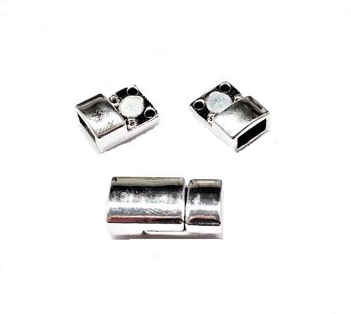 Fermoir magnétique rectangle en alliage plaqué platine 17.5 x 8.5 x 6mm Trou 2.5 x 6mm