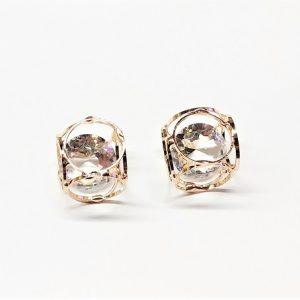 Métal cube or avec cristal