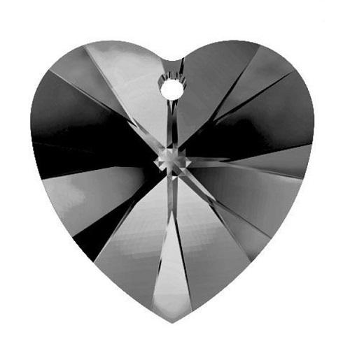 Swarovski 6228 pendentif coeur 28mm silver night crystal