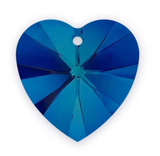 Swarovski 6228 pendentif coeur 28mm bermuda blue crystal