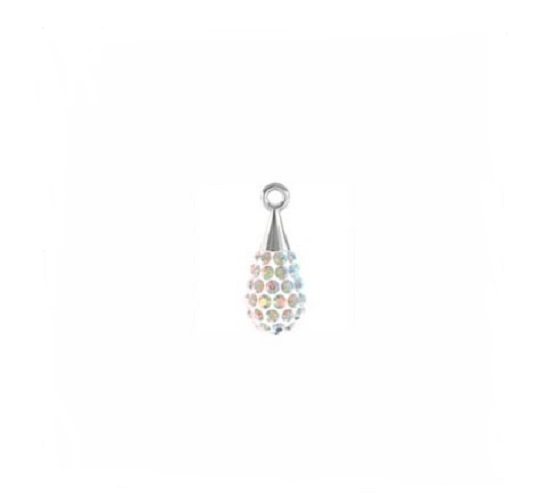 Swarovski 67 563 pendentif pave drop rhodium 14mm crystal AB/white