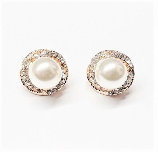 Boucle d'oreille avec perle et cristal 20mm