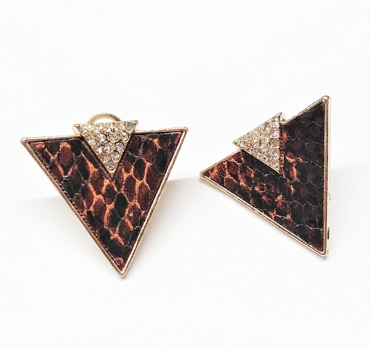 Boucle d'oreille triangle avec cuir avec cristal 30mm