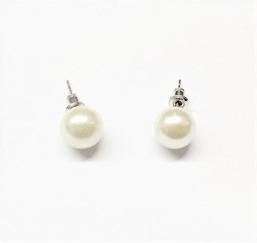 Boucle d'oreille bouton de perle blanc cassé