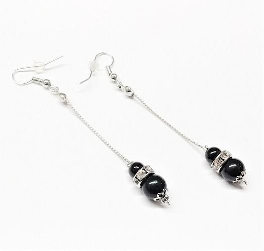 Boucle d'oreille pendante avec perle et cristal 70mm