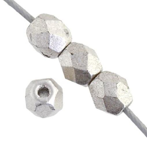 Verre poli au feu 4mm Silver metallic