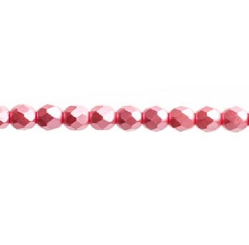 Verre poli au feu 4mm Pearl pastels strawberry pink