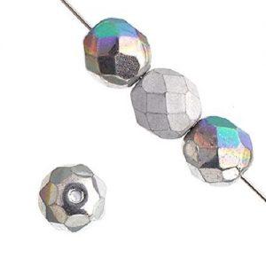 Verre poli au feu 4mm Crystal/glitte silver shine/matt