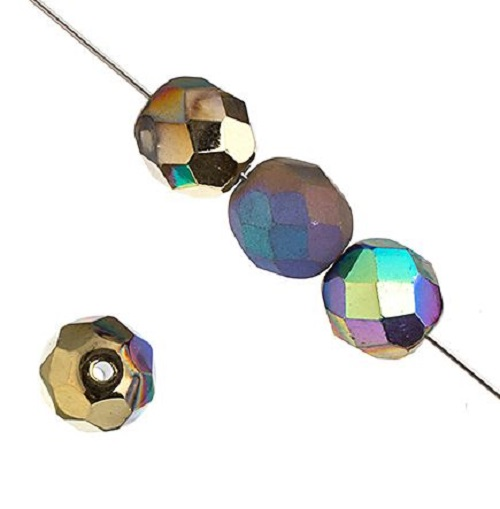 Verre poli au feu 6mm Crystal/glitter amber shine/matt