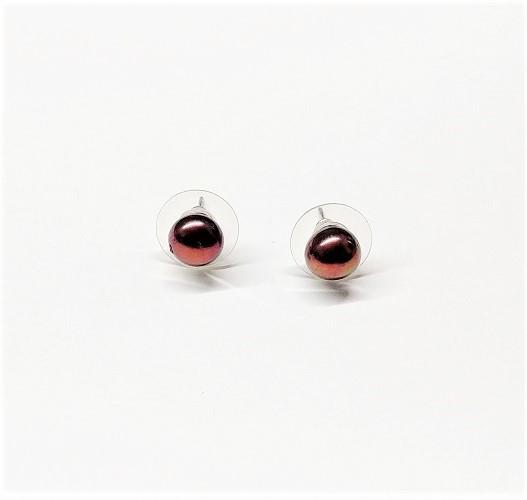 Boucle d'oreille bouton de perle véritable 8mm