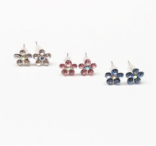 Boucle d'oreille trio fleur avec crystal 10mm