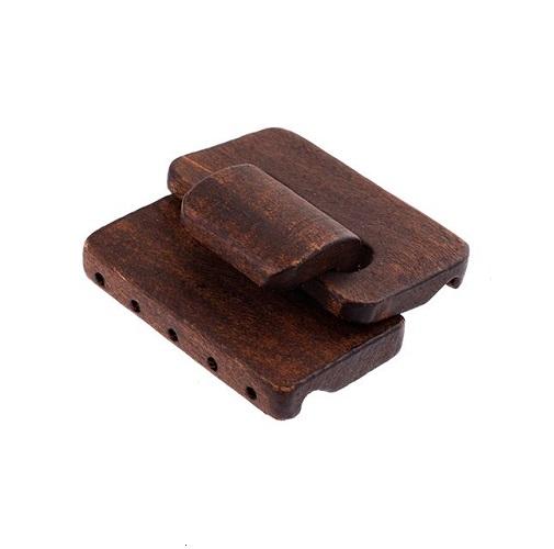 Fermoir en bois multirangs brun 45 x 48 x 12mm