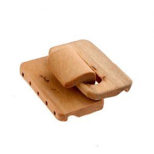 Fermoir en bois multirangs naturel 45 x 48 x 12mm