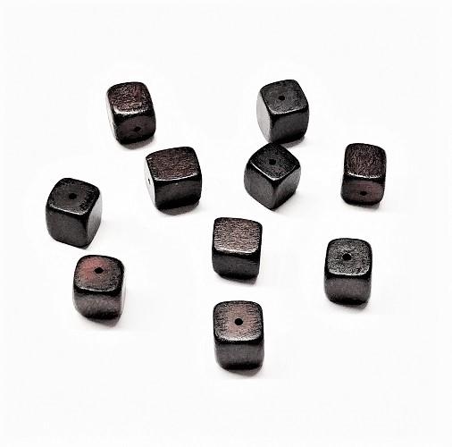 Cube de bois naturel teint brun 10mm