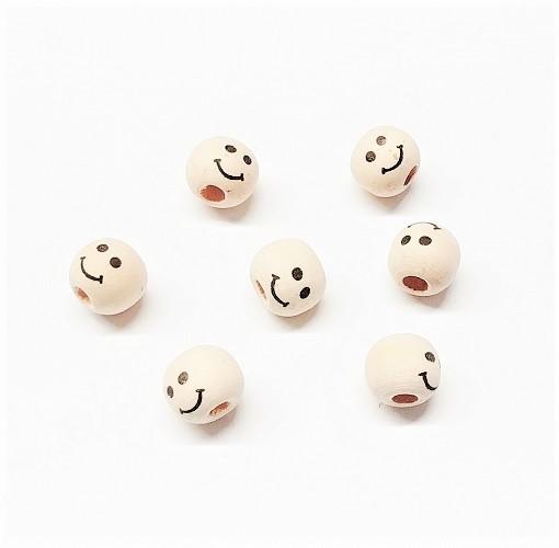 Bille de bois naturel émoticone sourire 10mm