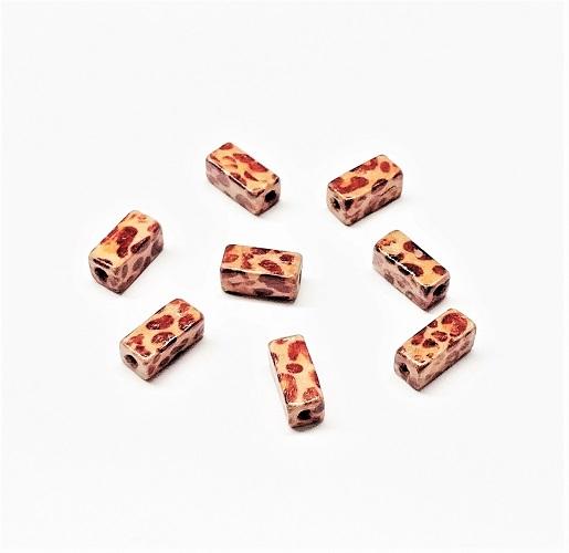 Rectangle de bois naturel 2 tons motif léopard 10 x 5mm