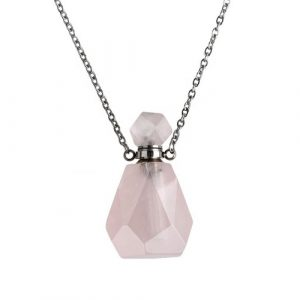 """Collier chaîne 20"""" en acier inoxydable avec pendentif bouteille quartz rose 34 x 18mm"""