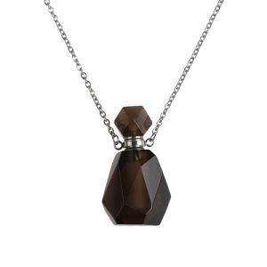 """Collier chaîne 20"""" en acier inoxydable avec pendentif bouteille quartz fumé 34 x 18mm"""