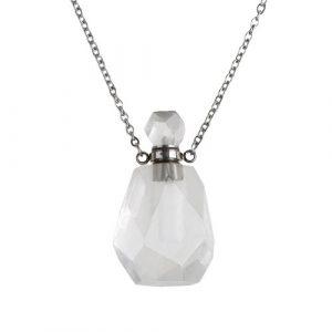 """Collier chaîne 20"""" en acier inoxydable avec pendentif bouteille quartz blanc 34 x 18mm"""