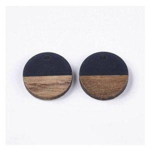 Pendentif rond en bois de noyer et résine 28.5 x 3.5mm