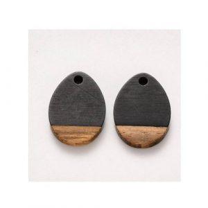 Pendentif goutte en bois de noyer et résine 17.5 x 13 x 4mm
