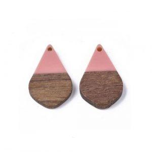 Pendentif larme en bois de noyer et résine 28 x 18 x 3mm