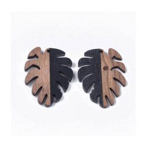 Pendentif feuille monstera en bois de noyer et résine 37.5 x 30 x 3.5mm