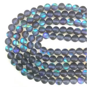 Verre sirène pierre de lune synthétique gris mat AB #29