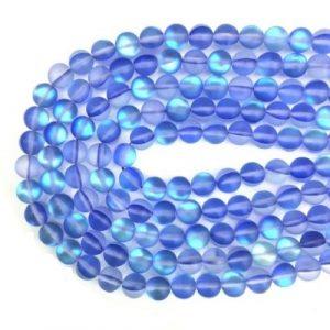 Verre sirène pierre de lune synthétique bleu foncé mat AB #33