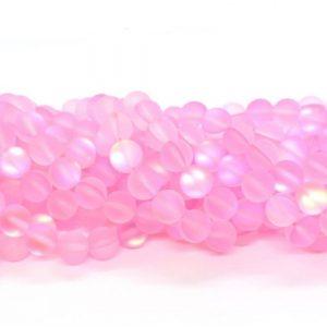 Verre sirène pierre de lune synthétique rose pâle mat AB #37